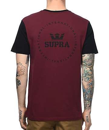 Supra International Seal camiseta en negro y color vino