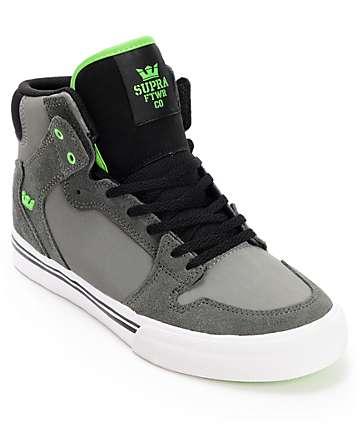 Supra Kids Vaider Grey, Black & Green Shoes