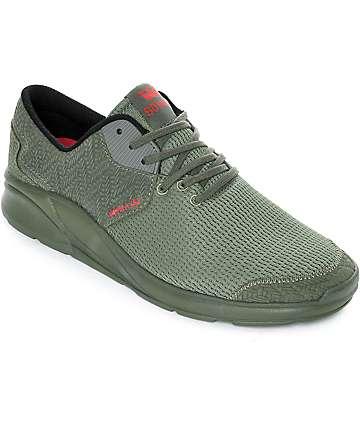 Supra Noiz zapatos verde olivo de ante y malla