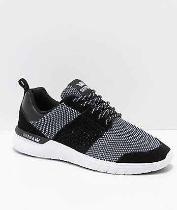 Supra Scissor Black & White Knit & Suede Shoes