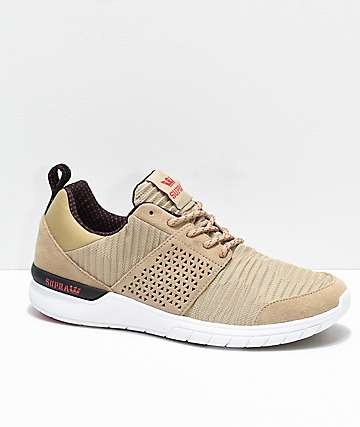 Supra Scissor Khaki & White Pleated Shoes