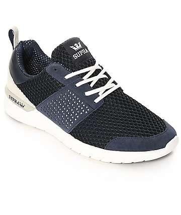 Supra Scissor zapatos de ante y malla en blanco y azul marino