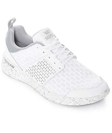 Supra Scissor zapatos de nubuck y malla en blanco