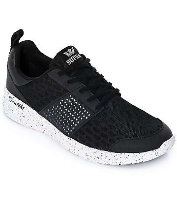 Supra Scissor zapatos de nubuck y malla en blanco y negro