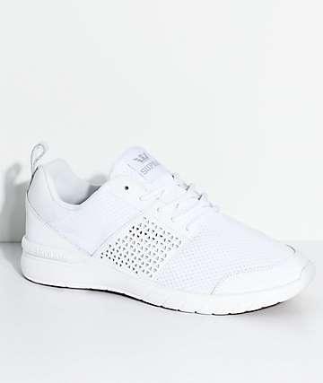 Supra Scissor zapatos tejidos en blanco