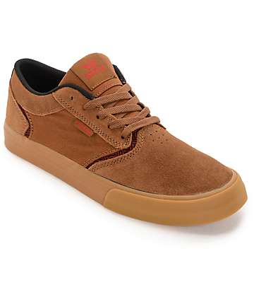 Supra Shredder Brown, Red & Gum Skate Shoes
