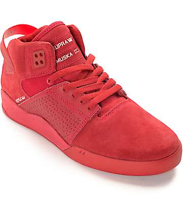 Supra Skytop III Red Suede Skate Shoes