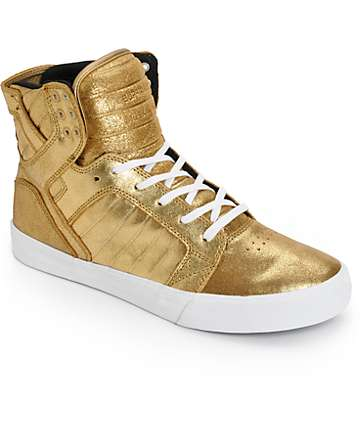 Supra Skytop Metallic Gold Leather Skate Shoes