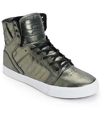 Supra Skytop Metallic Pewter Leather Skate Shoes