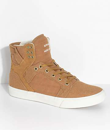 Supra Skytop Tan, Bone, Burlap & Suede Skate Shoes
