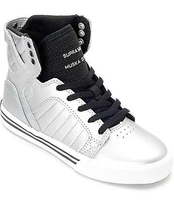 Supra Skytop zapatos metálicos grises para niños