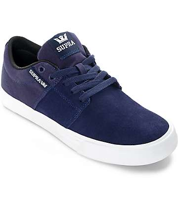Supra Stacks II Vulc Navy & White Skate Shoes