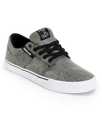 Supra Stacks Vulc II Black Wash Canvas Skate Shoes