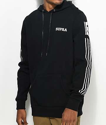 Supra Striped sudadera negra con capucha