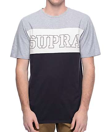 Supra Tri Block Grey, White & Navy T-Shirt