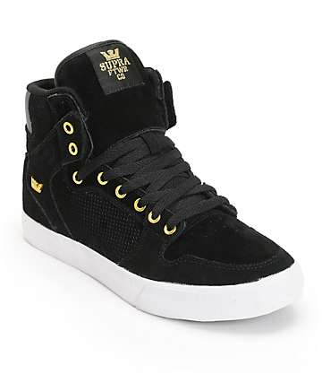 Supra Vaider Black & Gold Skate Shoes