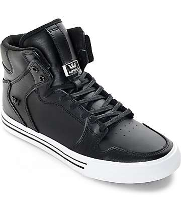Supra Vaider Classic Black Leather Skate Shoes