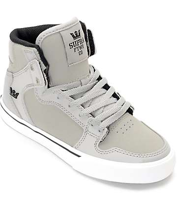 Supra Vaider Grey & White Suede Boys Shoes