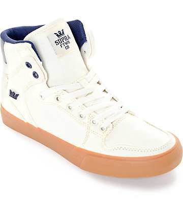 Supra Vaider White, Navy & Gum Canvas Skate Shoes