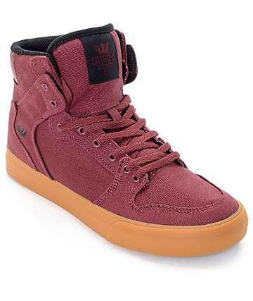 Supra Vaider zapatos de skate en goma y color borgoño