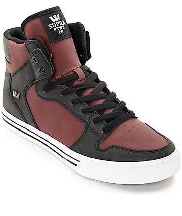 Supra Vaider zapatos de skate nubuck en negro y color borgoño