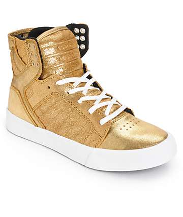 Supra Womens Skytop Gold Metallic Shoes