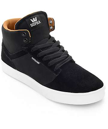 Supra Yorek High Black, Tan & White Skate Shoes