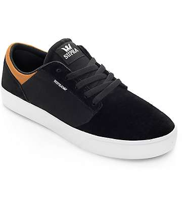 Supra Yorek Low Black, Tan & White Skate Shoes