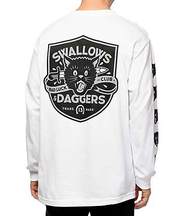 Swallows & Daggers Cat Head White Long Sleeve T-Shirt