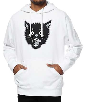 Swallows & Daggers Cat Head sudadera blanca con capucha