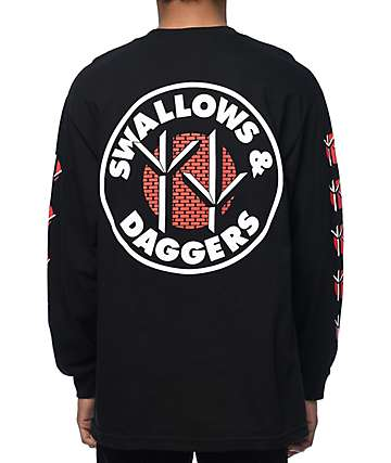 Swallows & Daggers Claw Print Black Long Sleeve T-Shirt