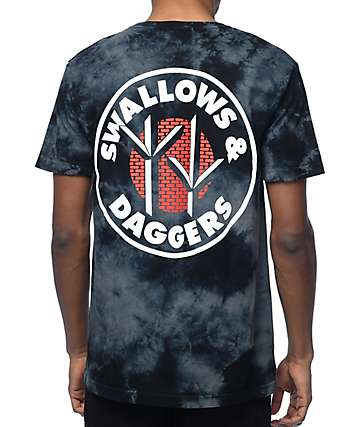 Swallows & Daggers Claw Print camiseta negra con efecto tie dye