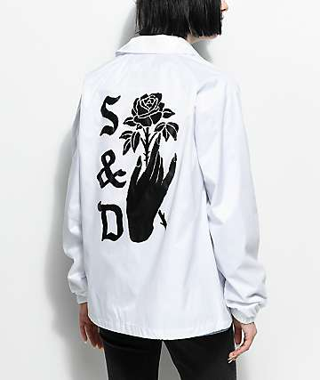 Swallows & Daggers Hand Picked Roses White Coaches Jacket