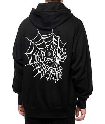 Swallows & Daggers Skull Web sudadera negra con capucha