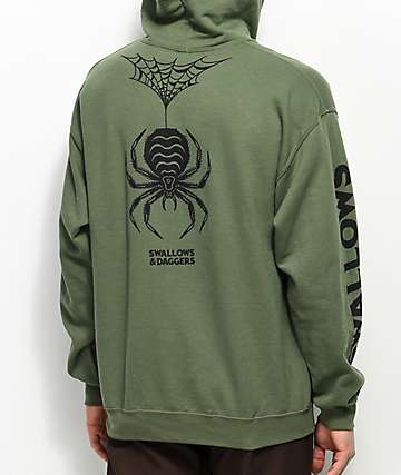 Swallows & Daggers Spider Military Green Hoodie