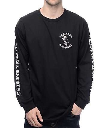 Swallows & Daggers Letters Long Sleeve Black T-Shirt