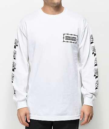 Swallows & Daggers Thorn Rose White Long Sleeve T-Shirt