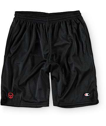 Sweatshirt By Earl Sweatshirt Premium Black & Red Mesh Shorts