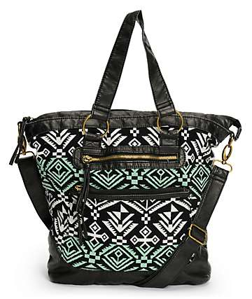 T-Shirt & Jeans Black & Mint Tribal Print Tote Bag