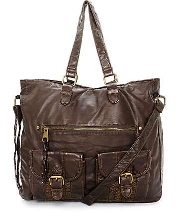 T-Shirt & Jeans Caroline Dark Brown Tote Bag