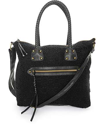 T-Shirt & Jeans Cherie Black Crochet Tote Bag