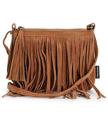 T-Shirt & Jeans Cognac Fringe Mini Crossbody Purse