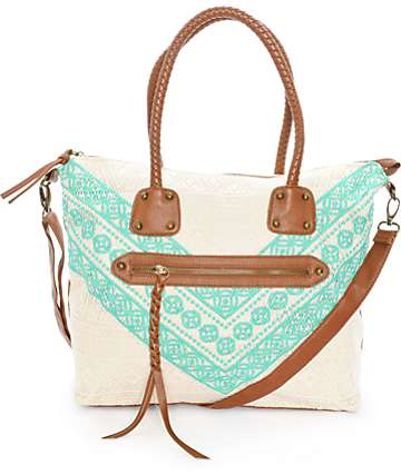 T-Shirt & Jeans Kate Mint & Cream Crochet Tote Bag