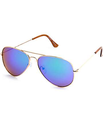 TG Top Gun Aviator Gold with Green Mirror Sunglasses