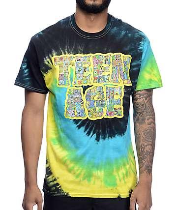 Teenage Cyber Black Multi Tie Dye T-Shirt