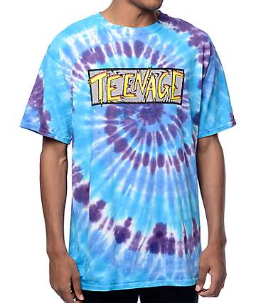 Teenage Fuzzy Logo Blue Tie Dye Shirt