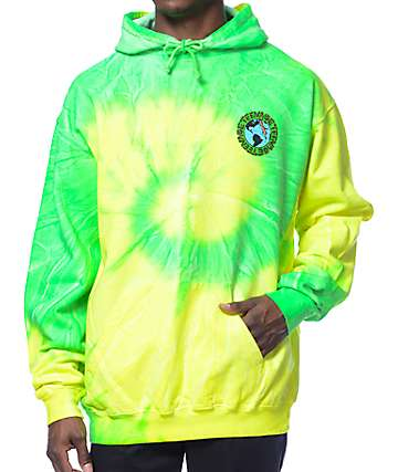 Teenage Madness Green Tie Dye Pullover Hoodie