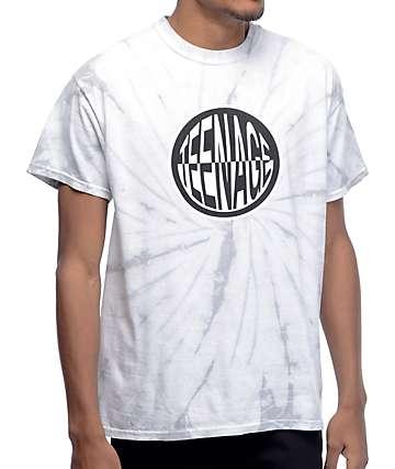 Teenage Round Logo Silver Tie Dye T-Shirt