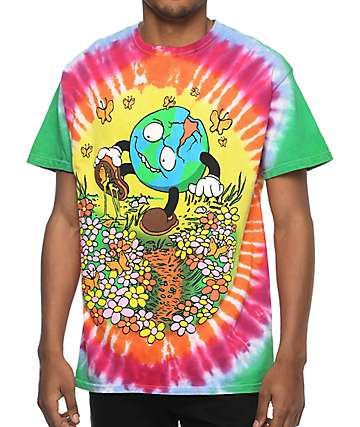 Teenage Sticker Flower Shoe camiseta con efecto tie dye