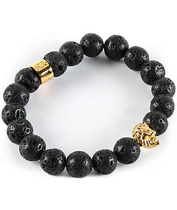 The Gold Gods Lion Lava Stone Bracelet